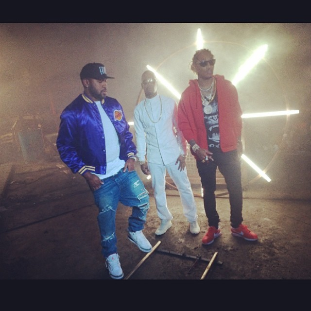 Mike Will Made It wearing Air Jordan III 3 Cement; Future wearing Nike Cortez Red