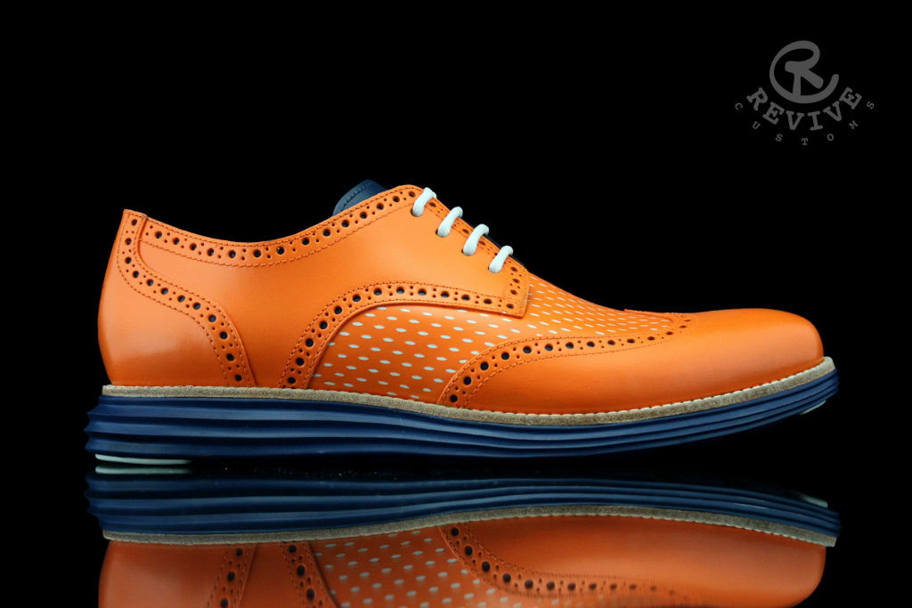 "Cole Haan LunarGrand Wingtip ""Knicks Orange"" for Spike Lee by Revive Customs (1)"