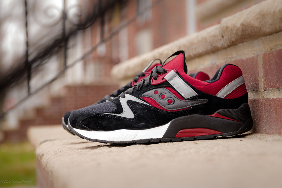 saucony grid 9000 grey white red