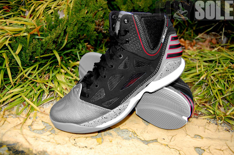 reputable site c1ed1 4965b adidas adiZero Rose 2.5 Playoffs Cement Lead Black Scarlet G48886 (2)