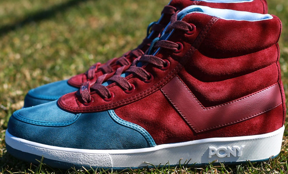 Pony Slam Dunk Hi Dark Burgundy/Pale Blue