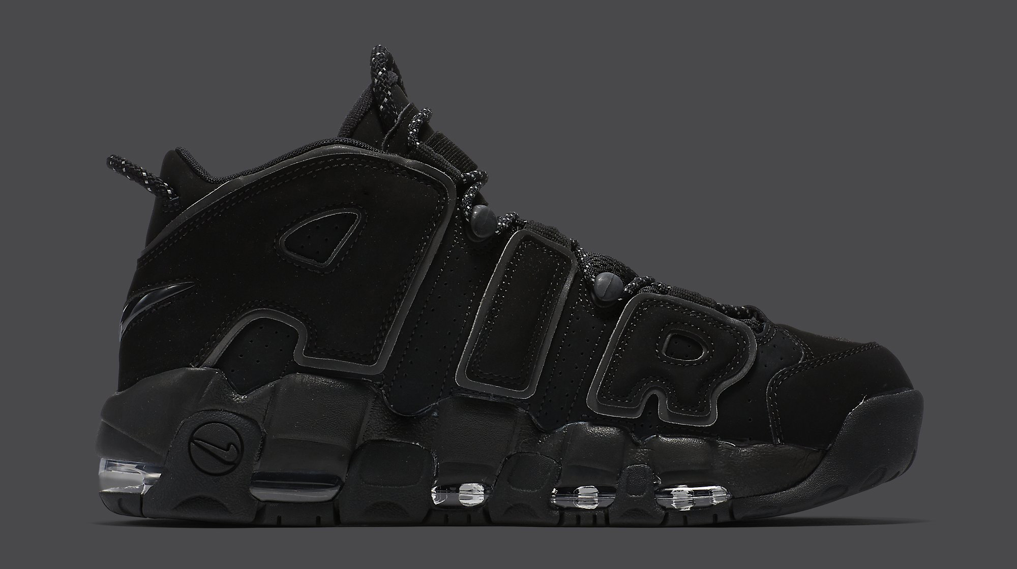 big sale f06c3 352b7 Image via Nike Nike Air More Uptempo Black Reflective 414962-004 Medial