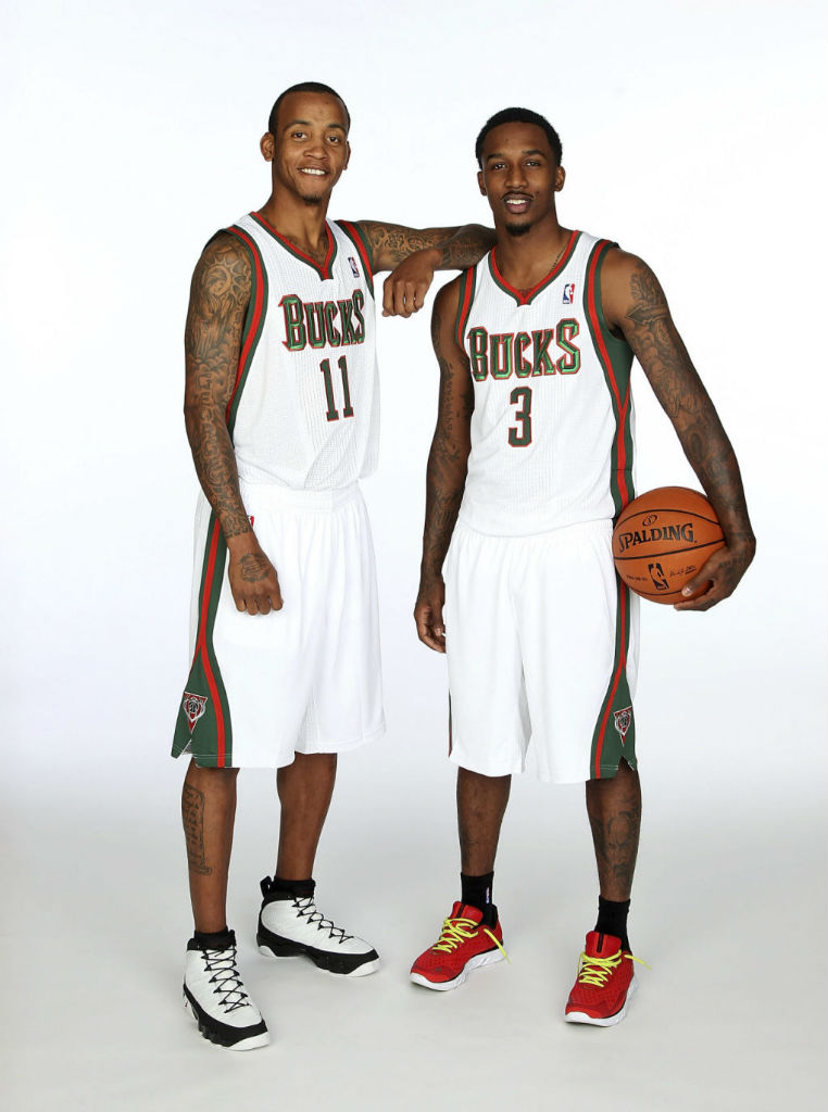 Monta Ellis wearing Air Jordan IX 9; Brandon Jennings wearing Under Armour Spine RPM