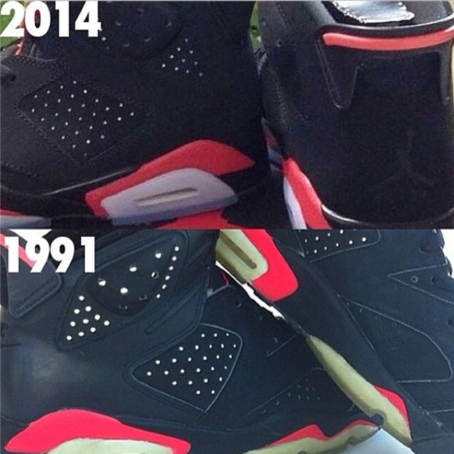 new arrival d6152 6c971 A Quick Comparison Of Black/Infrared Air Jordan 6s | Sole ...