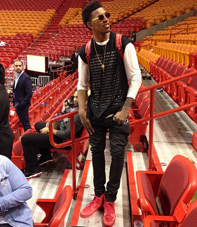 Nick Young wearing Balenciaga Pleated High-Top Sneakers
