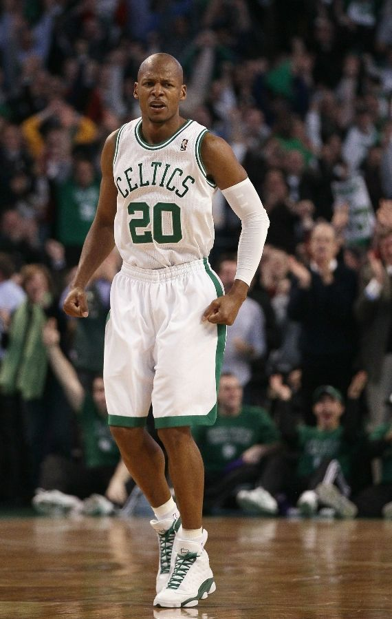 Ray Allen wearing the Air Jordan Retro 13. Another look at Ray s Record  Breaking ... 34c28c304