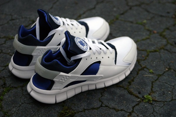 info for d63e2 6cede Continuing it s run as one of the most popular styles of 2012, the Huarache  Free 2012 is on it s way in a smooth white and blue color combination.