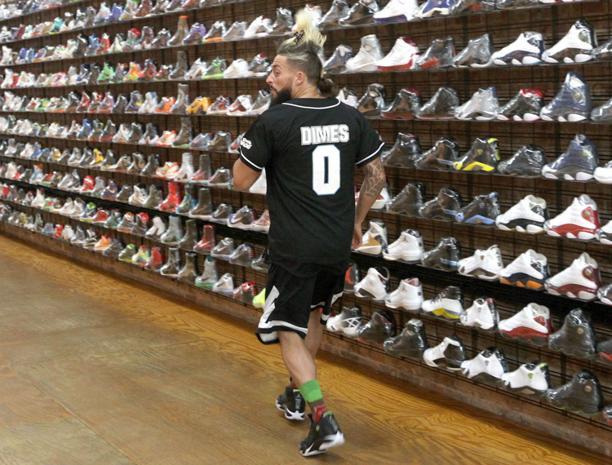 Enzo Amore Wearing the Indiglo Air Jordan 14
