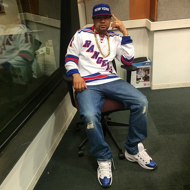 DJ Envy wearing Reebok Question Pearlized Navy