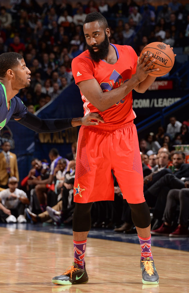 01492f1a976 James Harden wearing Nike Zoom Crusader All-Star PE