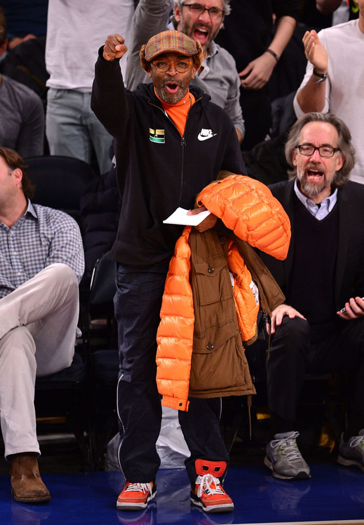 Spike Lee wearing Jordan Spizike Knicks