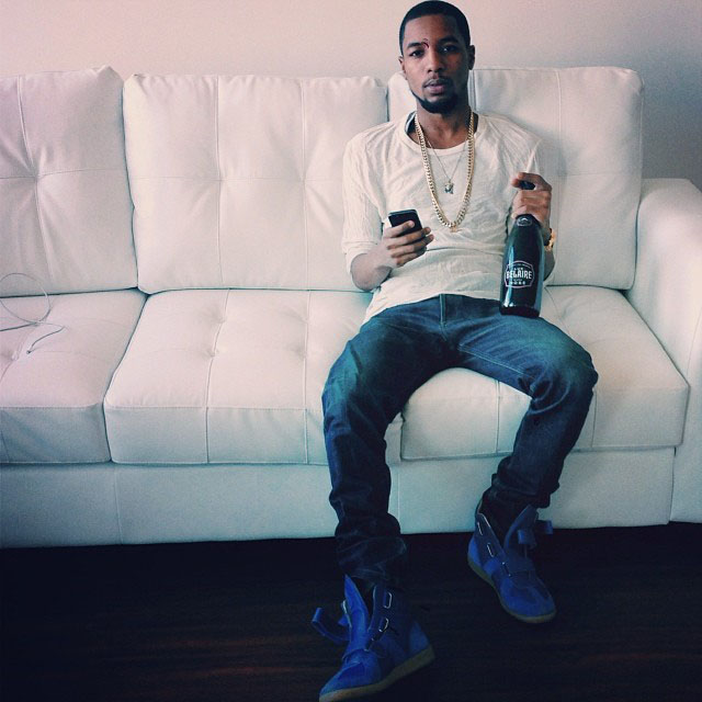 Rockie Fresh wearing Maison Martin Margiela Blue High-Top Sneakers