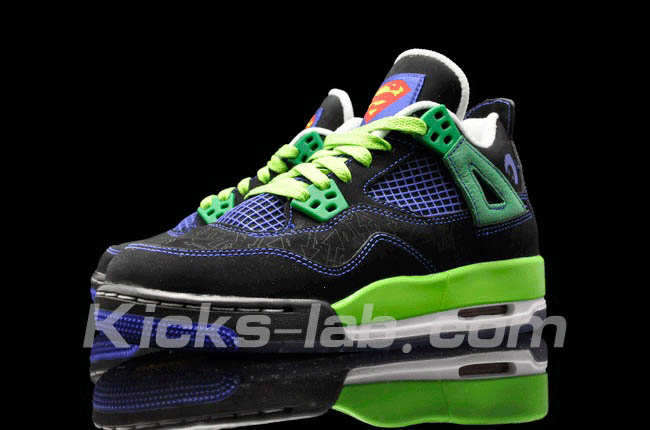Air Jordan 4 IV Doernbecher Superman Black Old Royal Electric Green White 308497-015 B