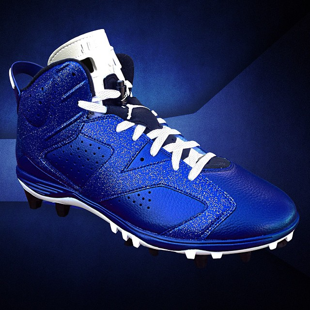 Air Jordan VI 6 Dallas Blue Cleats by Recon for Michael Crabtree (1)