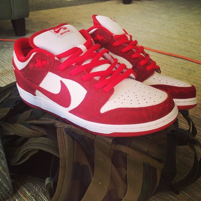 Nick Hogan wearing Nike Dunk Low SB Valentines Day