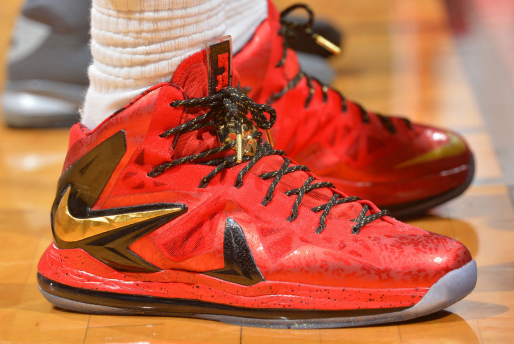 online store edf6d 9e125 LeBron James Wears Red Gold Nike LeBron X PS Elite For Game 1 (1