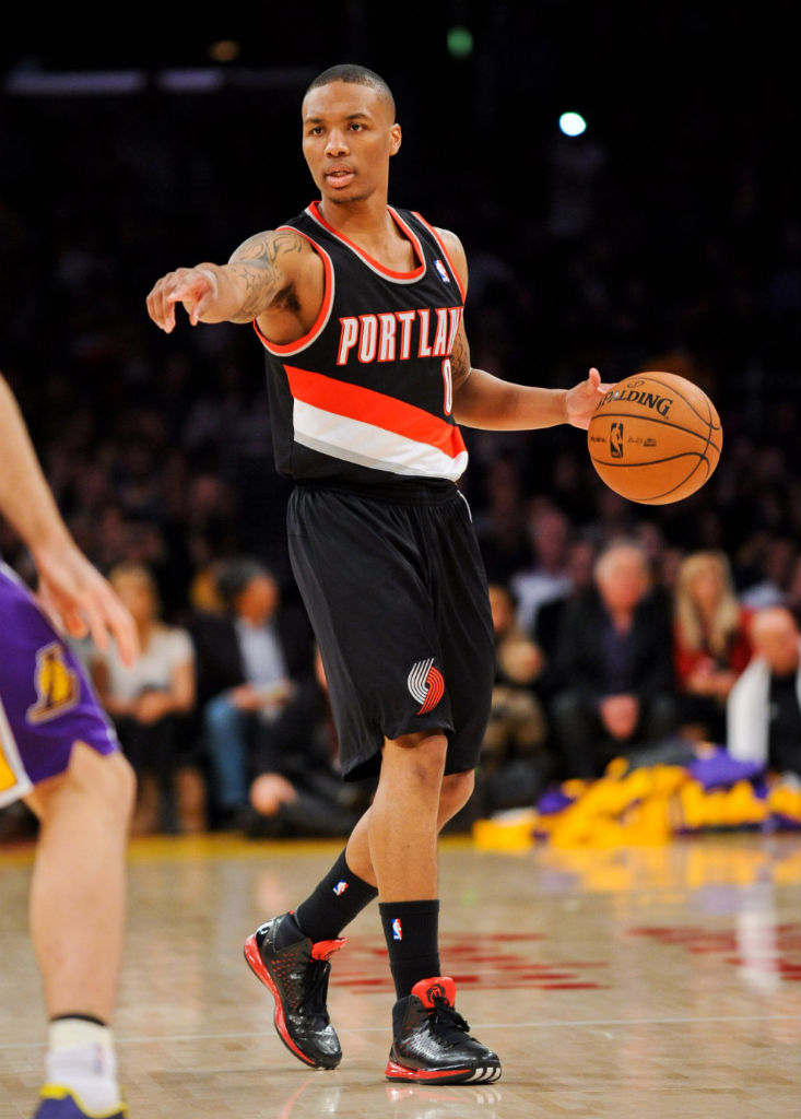Damian Lillard wearing adidas Rose 3 Away