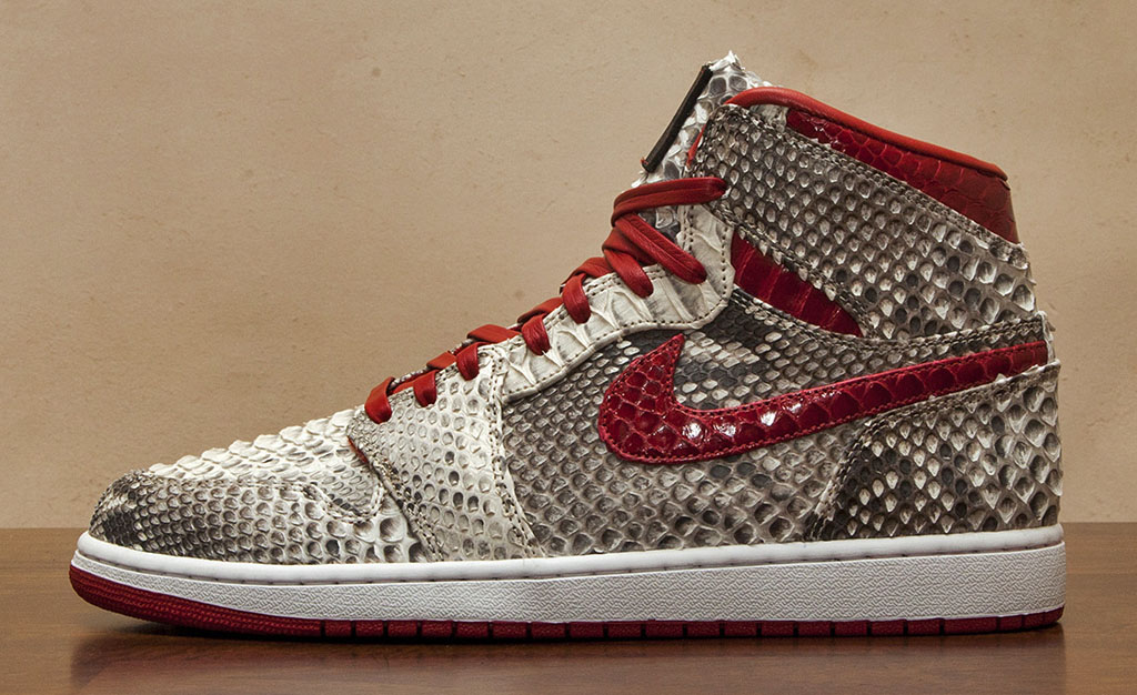 Air Jordan 1 Natural & Metallic Red Python by JBF Customs (1)