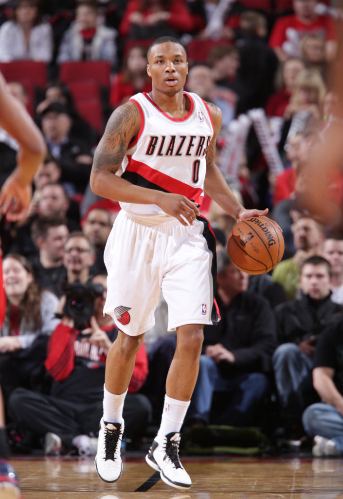 Damian Lillard wearing adidas Rose 773 Home