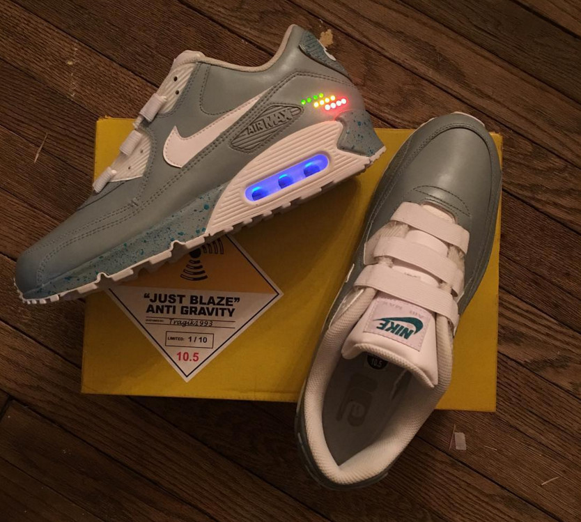 pretty nice af6b1 1432f Just Blaze Got a Crazy Nike MAG Air Max 90 Custom for Christmas