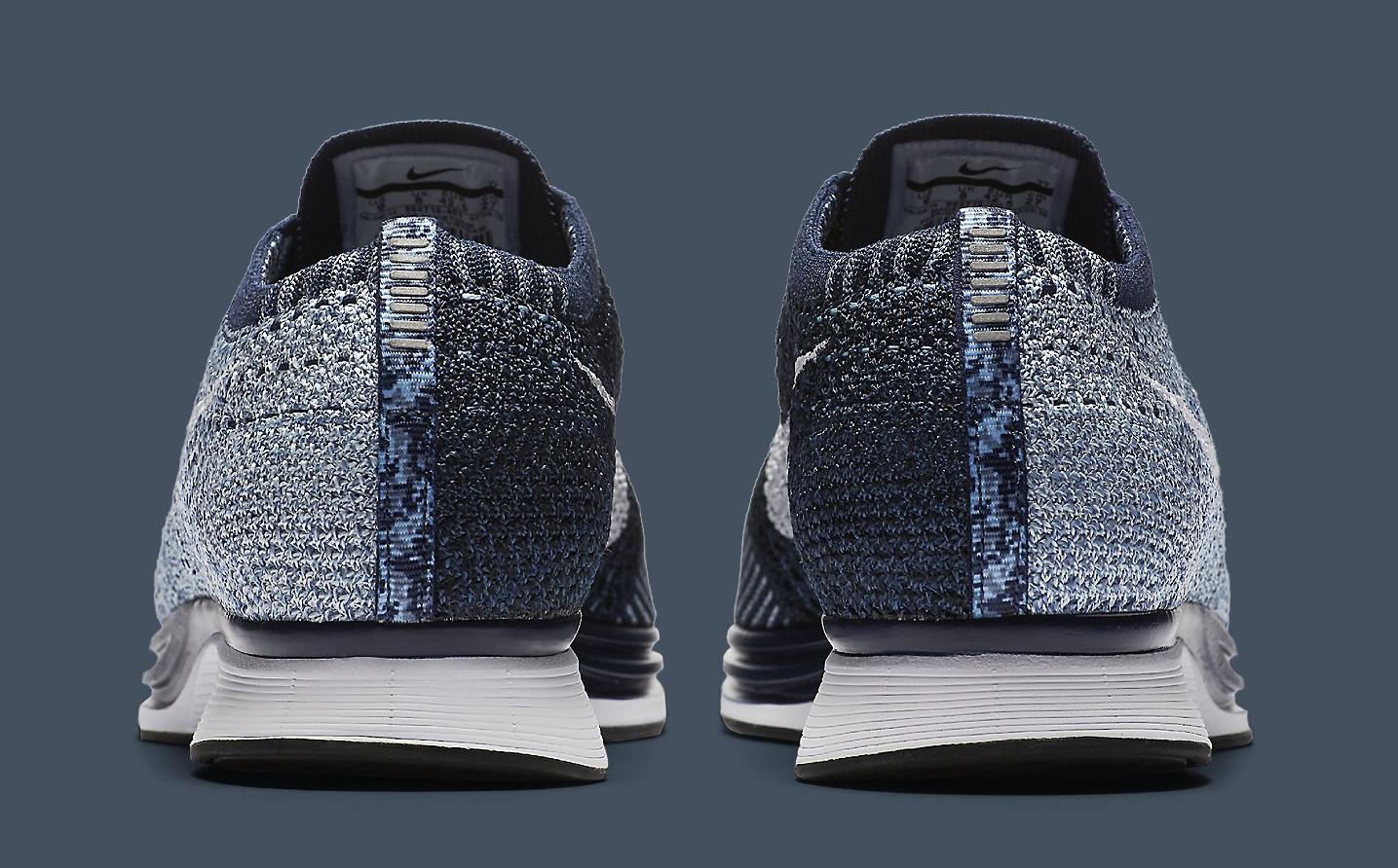 online retailer c3e59 719af Image via Nike Nike Flyknit Racer Blue Tint White 862713-401 Heel