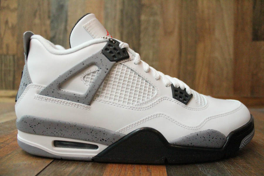 White Retro: Air Jordan Retro 4 - White/Black-Cement Grey