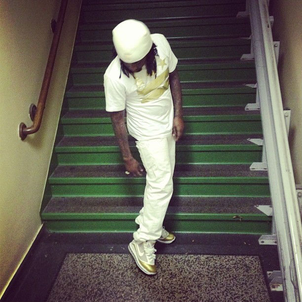 Wale wearing Nike Air Max LeBron 7 China