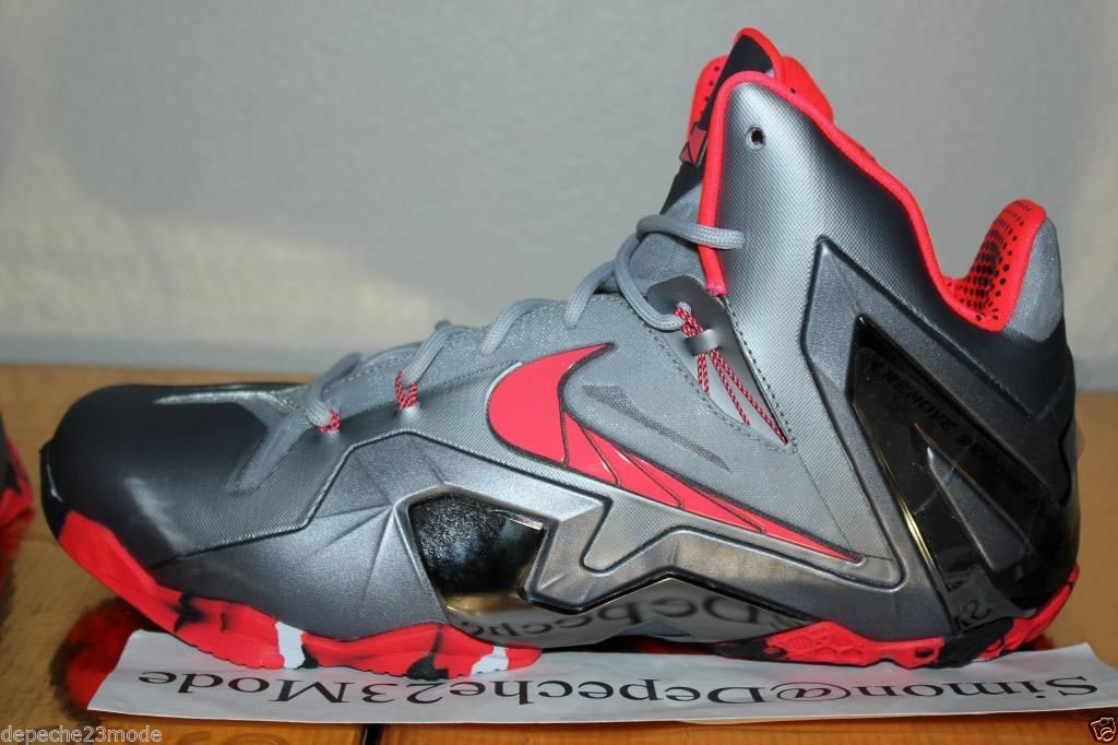 huge selection of 4f02d 97a57 Nike LeBron 11 Elite Wolf Grey Crimson Cool Grey Black 642846-001 (6)
