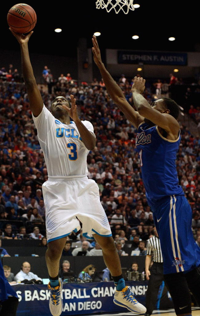 Jordan Adams wearing adidas Crazy Light 3 UCLA PE