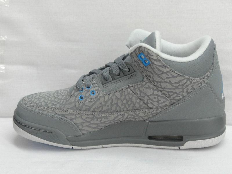 Air Jordan Retro 3 GS Cool Grey Blue Glow 441140-015 5 35135391e4