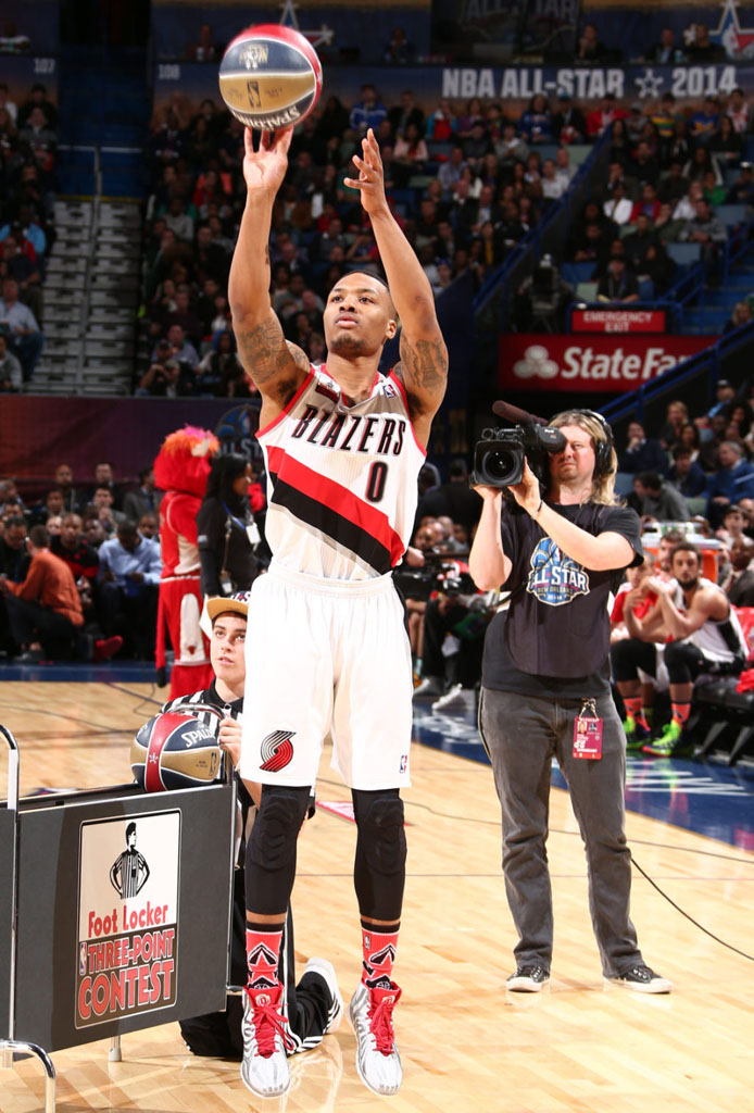 Damian Lillard wearing adidas D Rose 4.5 Home