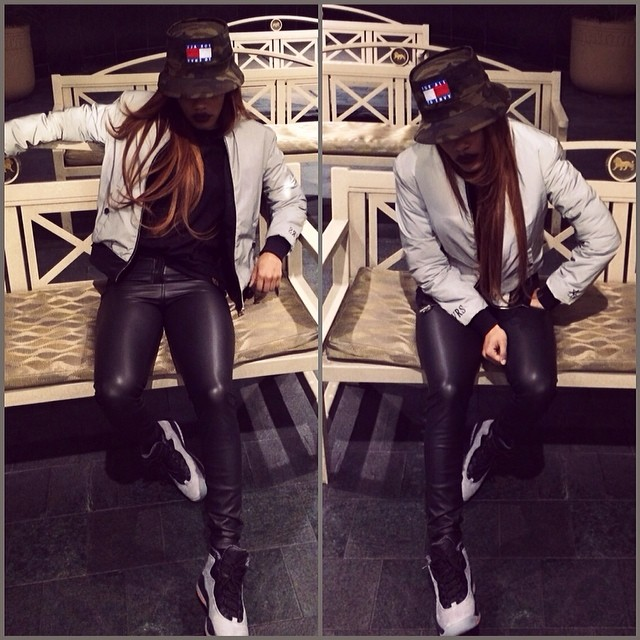 Teyana Taylor wearing Air Jordan 10 Cool Grey