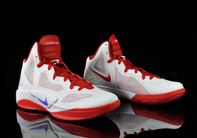 d4290773eb29 Nike Zoom Hyperfuse 2011 White Metallic Luster Sport Red 454136-101 Front