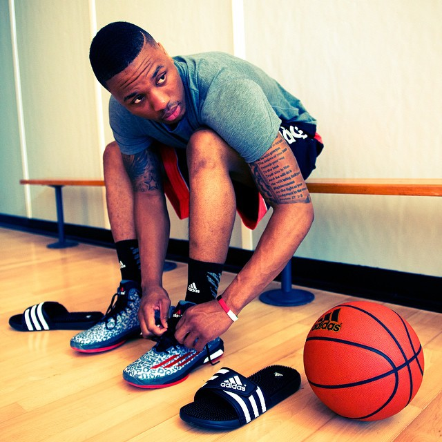 Damian Lillard wearing adidas Crazylight Boost Dame