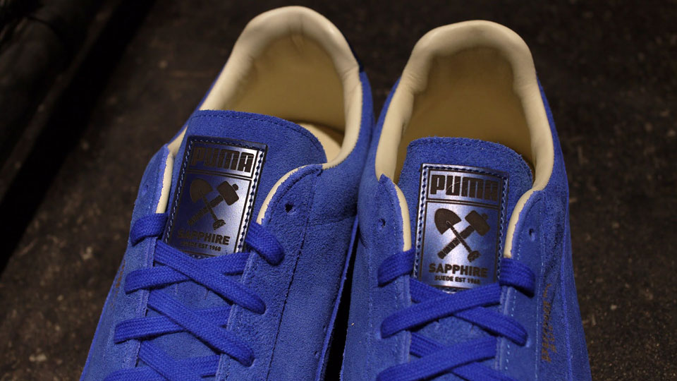 PUMA Suede Sapphire 45th Anniversary tongue