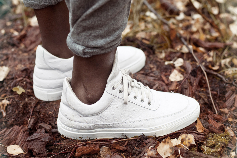 Filling Pieces AW 13 low top white ostrich