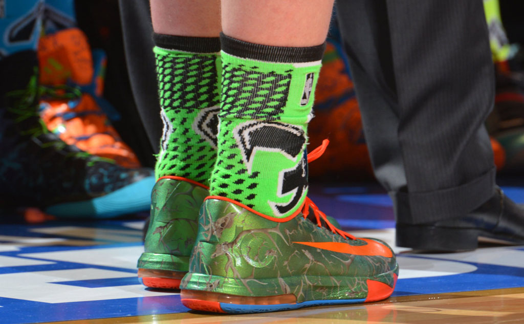 Kelly Olynyk wearing Nike KD 6 Big Game Hunter Custom