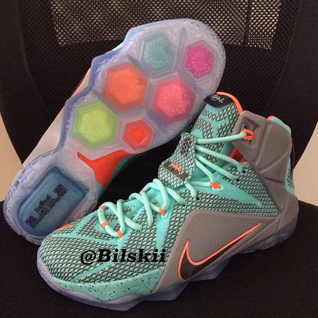 Nike LeBron XII 12 Teal/Grey-Orange Sample (2)