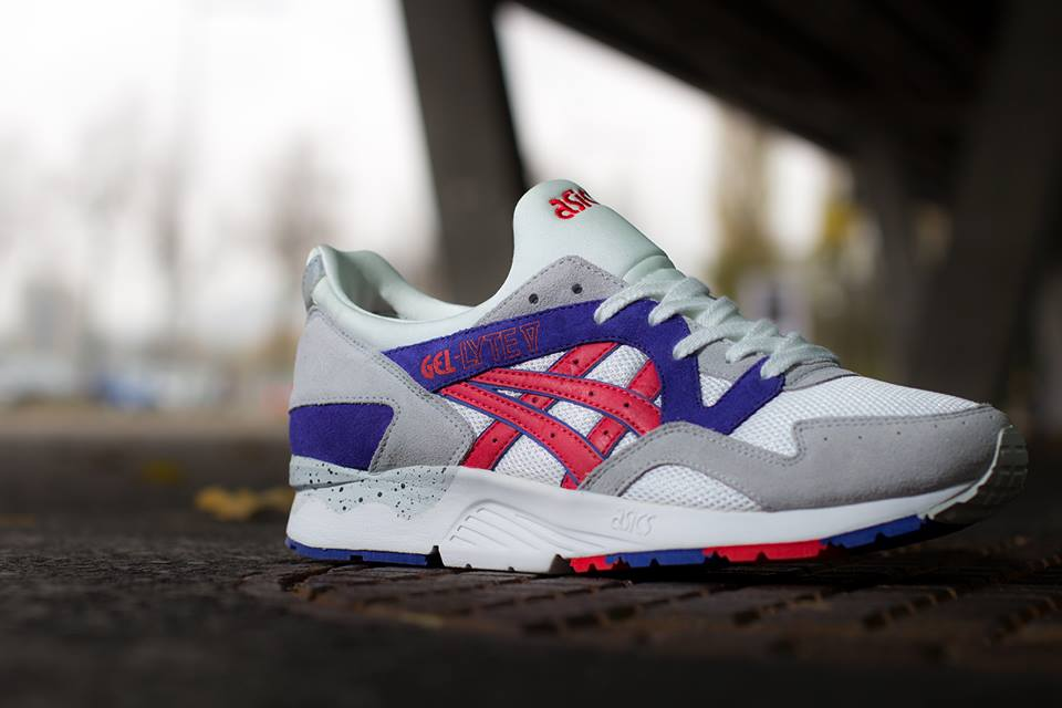 ASICS Gel Lyte V in White and Fiery Red profile