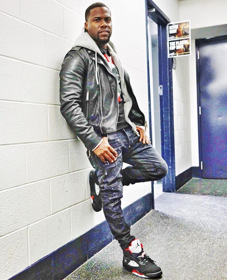 29af1b084592 Kevin Hart wearing the  Black  Supreme x Air Jordan 5