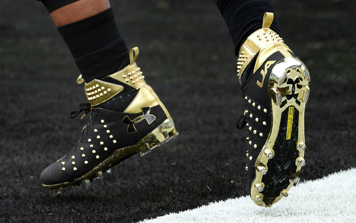 797c3b4a28cf Cam Newton Spiked Under Armour Cleats Left | Sole Collector