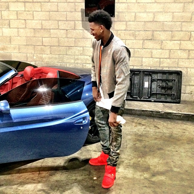 Nick Young wearing Nike Air Yeezy II 2 Red October