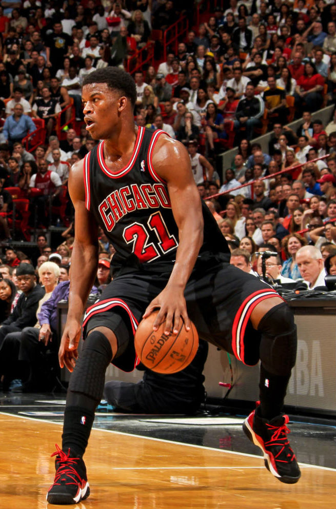 Jimmy Butler wearing adidas Top Ten 2000