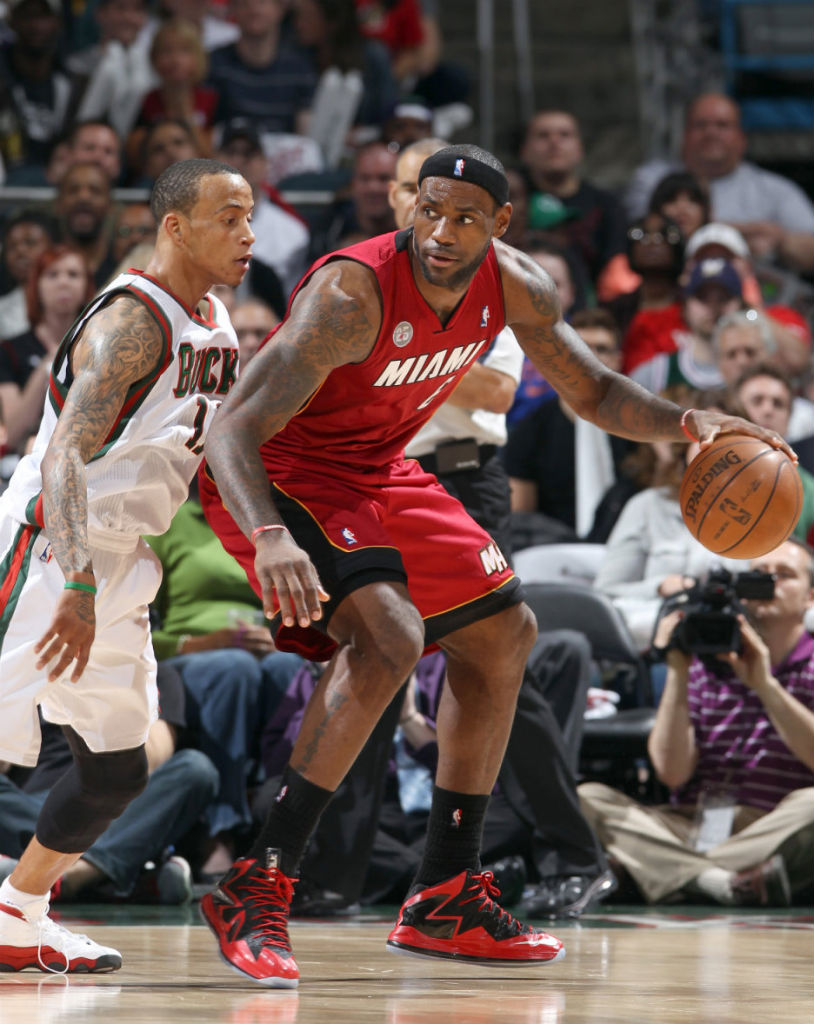 LeBron James wearing Nike LeBron X PS Elite Red Black PE (6)
