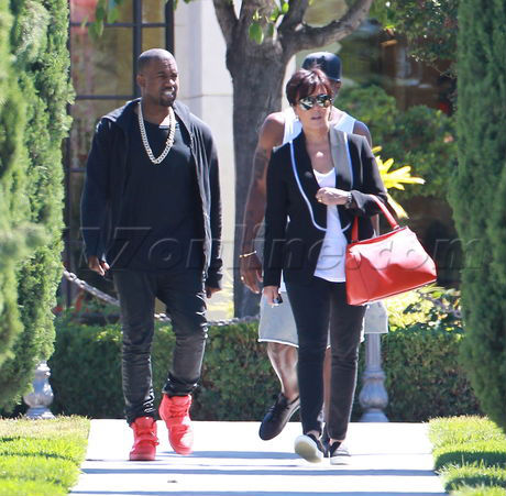 Kanye West Wears All-Red Nike Air Yeezy 2 (4)