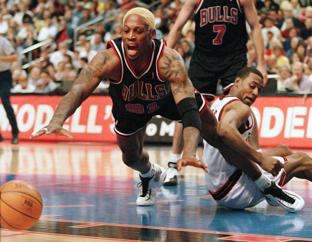 Dennis Rodman wearing the Converse All-Star Rodman