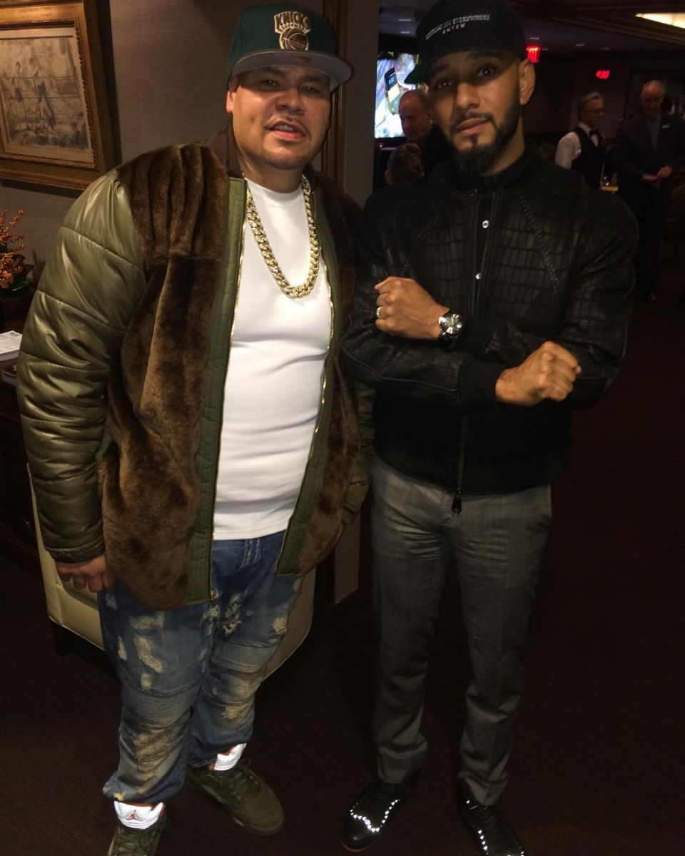 Fat Joe wearing the 'Olive' Air Jordan 5
