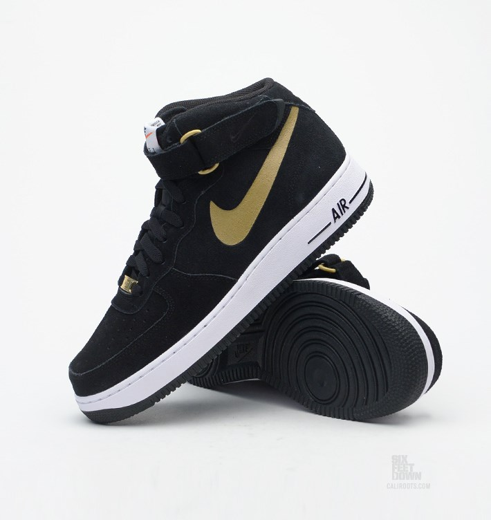 Nike Air Force 1 Mid Black/Gold Sole Collector