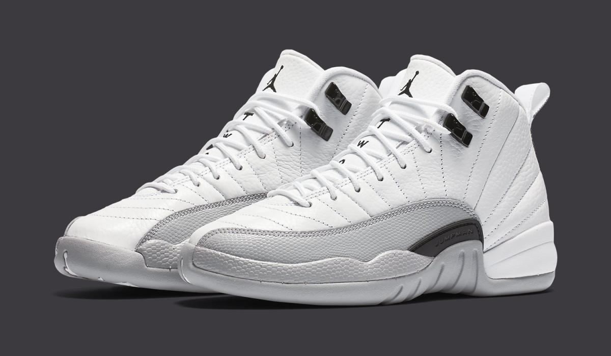 Retro 12 Gray : Air jordan xii white grey black sole collector