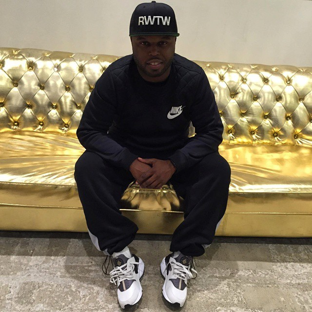 DJ Steph Floss wearing Nike Air Huarache Light Ash
